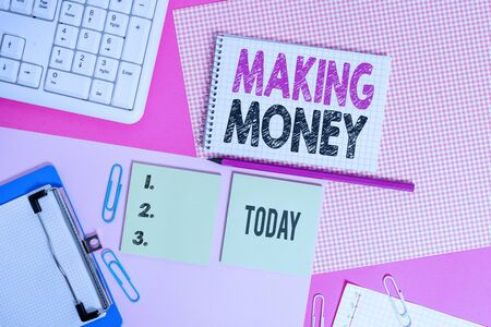 Text sign showing Making Money. Business photo text Giving the opportunity to make a profit Earn financial support Writing equipments and computer stuffs placed above colored plain table