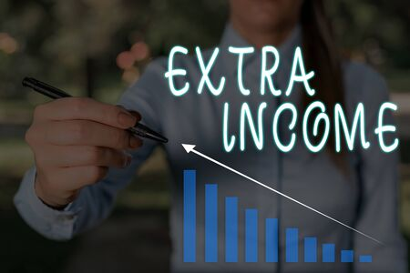 Conceptual hand writing showing Extra Income. Concept meaning Additional fund received or earned from a non regular basis Woman wear work suit presenting presentation smart device Stock fotó
