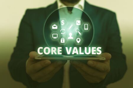 Text sign showing Core Values. Business photo showcasing belief demonstrating or organization views as being importance Imagens