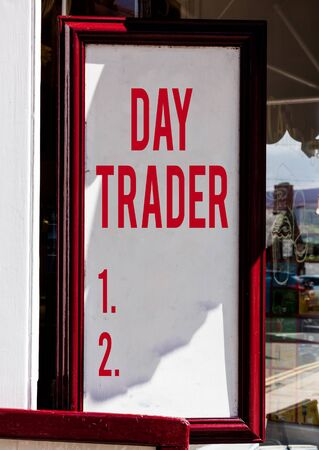 Handwriting text Day Trader. Conceptual photo A demonstrating that buy and sell financial instrument within the day Empty white board with copy space for advertising. Blank white space for text adding