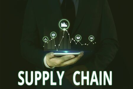 Text sign showing Supply Chain. Business photo showcasing System of organization and processes from supplier to consumer Male human wear formal work suit presenting presentation using smart device Foto de archivo - 130154558