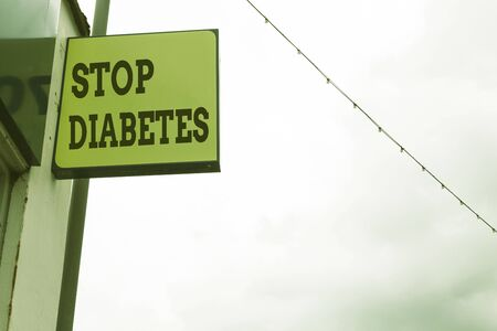 Word writing text Stop Diabetes. Business photo showcasing Blood Sugar Level is higher than normal Inject Insulin Green ad board on the street with copy space for advertisement Stock Photo