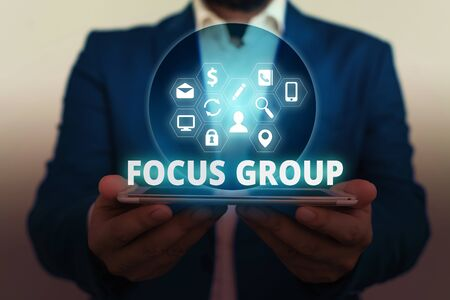 Text sign showing Focus Group. Business photo showcasing showing assembled to participate in discussion about something