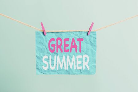 Writing note showing Great Summer. Business concept for Having Fun Good Sunshine Going to the beach Enjoying outdoor Clothesline clothespin rectangle shaped paper reminder white wood desk Imagens