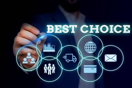 Handwriting text writing Best Choice. Conceptual photo act of picking or deciding between two or more possibilities Male human wear formal work suit presenting presentation using smart device