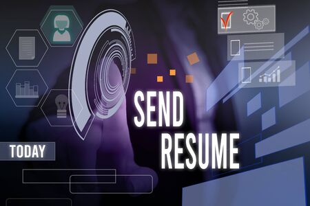 Conceptual hand writing showing Send Resume. Concept meaning brief account demonstratings education qualifications and occupations Woman wear work suit presenting presentation smart device Stock Photo