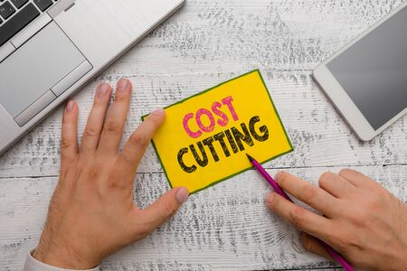 Conceptual hand writing showing Cost Cutting. Concept meaning Measures implemented to reduced expenses and improved profit Imagens