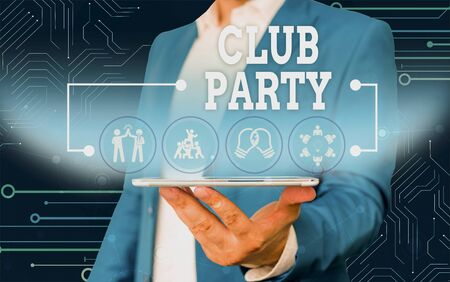 Conceptual hand writing showing Club Party. Concept meaning social gathering in a place that is informal and can have drinks Male wear formal work suit presenting presentation smart device Foto de archivo - 130154142