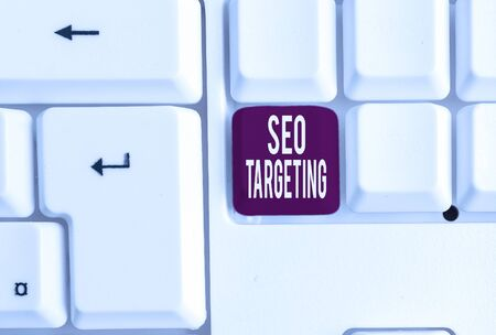 Writing note showing Seo Targeting. Business concept for Specific Keywords for Location Landing Page Top Domain White pc keyboard with note paper above the white background