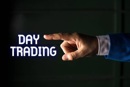 Handwriting text writing Day Trading. Conceptual photo securities specifically buying and selling financial instruments Isolated hand pointing with finger. Business concept pointing finger
