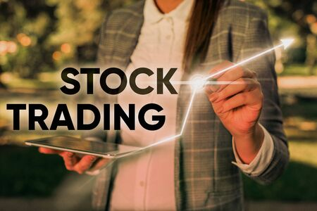 Word writing text Stock Trading. Business photo showcasing Buy and Sell of Securities Electronically on the Exchange Floor