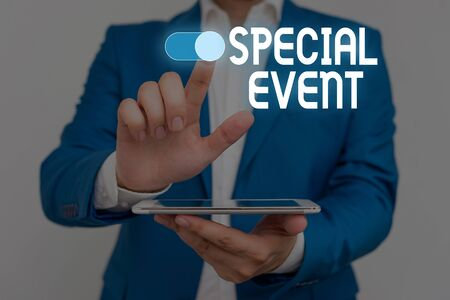Word writing text Special Event. Business photo showcasing Function to generate money for non profit a Crowded Occassion Male human wear formal work suit presenting presentation using smart device