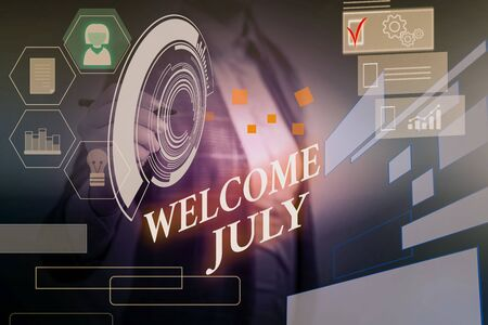 Word writing text Welcome July. Business photo showcasing Calendar Seventh Month 31days Third Quarter New Season Woman wear formal work suit presenting presentation using smart device