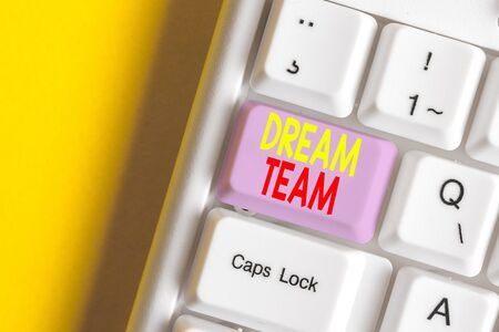 Word writing text Dream Team. Business photo showcasing Prefered unit or group that make the best out of a demonstrating White pc keyboard with empty note paper above white background key copy space