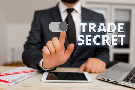 Writing note showing Trade Secret. Business concept for Confidential information about a product Intellectual property