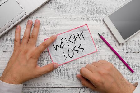 Writing note showing Weight Loss. Business concept for Decrease in Body Fluid Muscle Mass Reduce Fat Dispose Tissue