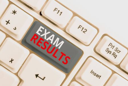 Writing note showing Exam Results. Business concept for An outcome of a formal test that shows knowledge or ability White pc keyboard with note paper above the white background