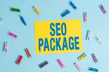 Handwriting text Seo Package. Conceptual photo practice of search engine optimization increase amount visitors Colored clothespin rectangle shaped reminder paper light blue background