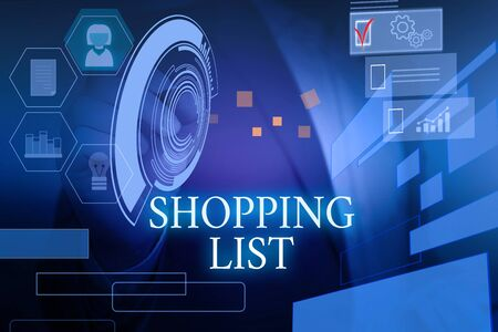 Writing note showing Shopping List. Business concept for Discipline approach to shopping Basic Items to Buy Male wear formal suit presenting presentation smart device