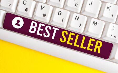 Word writing text Best Seller. Business photo showcasing one feature or the perceived benefit good which makes it unique White pc keyboard with empty note paper above white background key copy space
