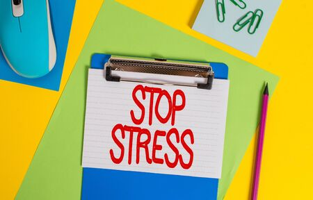 Word writing text Stop Stress. Business photo showcasing Seek help Take medicines Spend time with loveones Get more sleep Clipboard striped sheets marker clips notepad mouse colored background Stock fotó