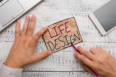Text sign showing Life Design. Business photo showcasing balance how you live between work family and entertaining