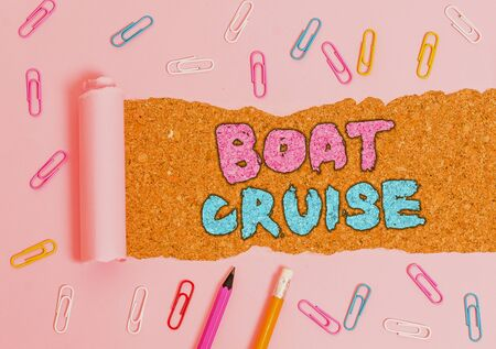 Writing note showing Boat Cruise. Business concept for sail about in area without precise destination with large ship 写真素材