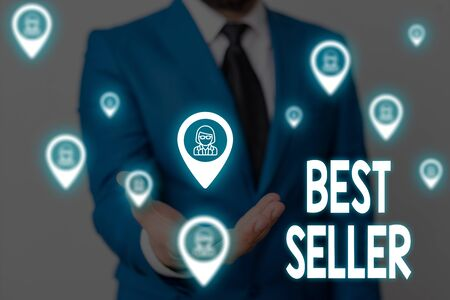 Handwriting text Best Seller. Conceptual photo one feature or the perceived benefit good which makes it unique Male human wear formal work suit presenting presentation using smart device Stock fotó