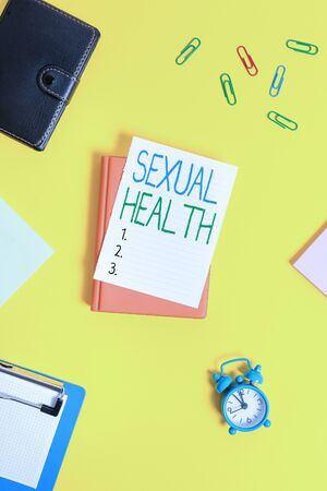 Handwriting text Sexual Health. Conceptual photo Healthier body Satisfying Sexual life Positive relationships Paper clips with blank papers for text messages
