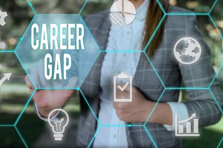 Conceptual hand writing showing Career Gap. Concept meaning A scene where in you stop working by your profession for a while Female human wear formal work suit presenting smart device