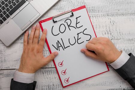 Handwriting text writing Core Values. Conceptual photo belief demonstrating or organization views as being importance Imagens