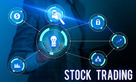 Conceptual hand writing showing Stock Trading. Concept meaning Buy and Sell of Securities Electronically on the Exchange Floor Woman wear work suit presenting presentation smart device