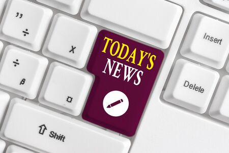Handwriting text writing Today S News. Conceptual photo Latest Breaking Headlines Current Updates Trending White pc keyboard with empty note paper above white background key copy space Stock Photo