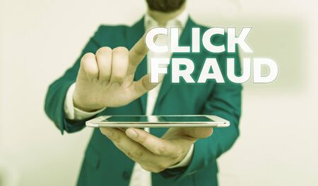 Word writing text Click Fraud. Business photo showcasing practice of repeatedly clicking on advertisement hosted website Businessman with pointing finger in front of him Banco de Imagens