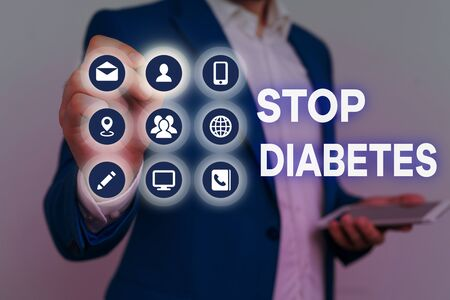 Conceptual hand writing showing Stop Diabetes. Concept meaning Blood Sugar Level is higher than normal Inject Insulin