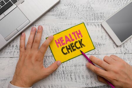 Conceptual hand writing showing Health Check. Concept meaning Medical Examination Wellness and general state Inspection Zdjęcie Seryjne