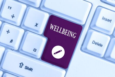 Handwriting text writing Wellbeing. Conceptual photo A good or satisfactory condition of existence including health White pc keyboard with empty note paper above white background key copy space Banco de Imagens