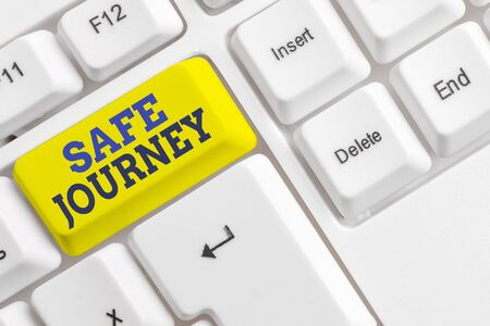 Handwriting text Safe Journey. Conceptual photo Blessing Bid farewell Drive carefully Use seatbelt Strap White pc keyboard with empty note paper above white background key copy space