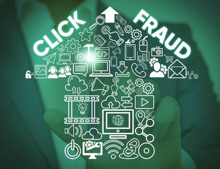 Writing note showing Click Fraud. Business concept for practice of repeatedly clicking on advertisement hosted website Male wear formal work suit presenting presentation smart device