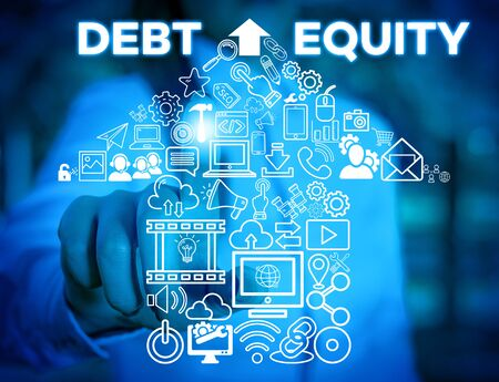 Writing note showing Debt Equity. Business concept for dividing companys total liabilities by its stockholders Woman wear formal work suit presenting presentation using smart device Banco de Imagens