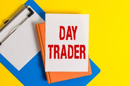 Word writing text Day Trader. Business photo showcasing A demonstrating that buy and sell financial instrument within the day Pile of empty papers with copy space on the table