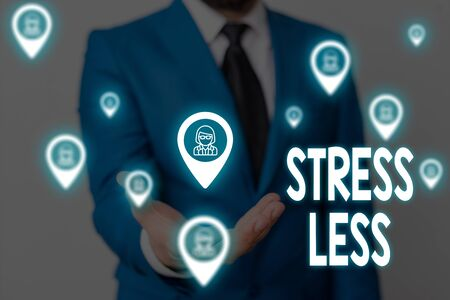 Handwriting text Stress Less. Conceptual photo Stay away from problems Go out Unwind Meditate Indulge Oneself Male human wear formal work suit presenting presentation using smart device