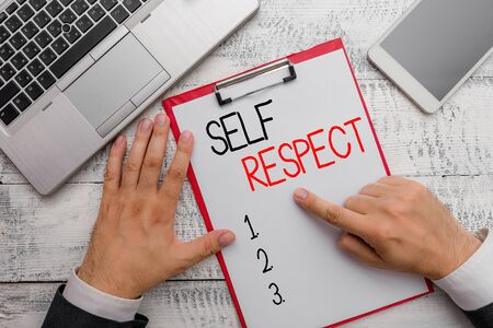 Writing note showing Self Respect. Business concept for Pride and confidence in oneself Stand up for yourself