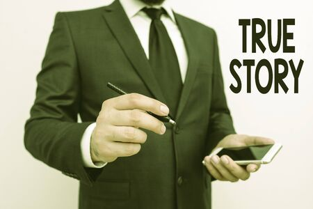 Word writing text True Story. Business photo showcasing The day to day experiences of an individual in his entire life Stock Photo