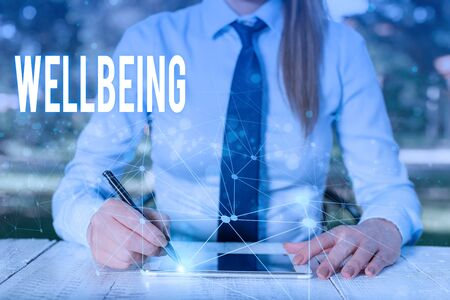 Conceptual hand writing showing Wellbeing. Concept meaning A good or satisfactory condition of existence including health Female human wear formal work suit presenting smart device