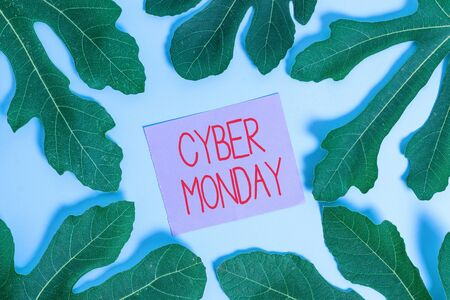 Handwriting text Cyber Monday. Conceptual photo Marketing term for Monday after thanksgiving holiday in the US Stock Photo