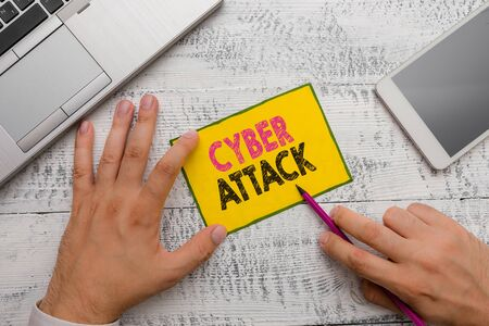 Conceptual hand writing showing Cyber Attack. Concept meaning An attempt by hackers to Damage Destroy a Computer System 版權商用圖片
