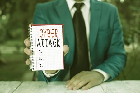 Text sign showing Cyber Attack. Business photo text An attempt by hackers to Damage Destroy a Computer System Man holds empty paper with copy space in front of him