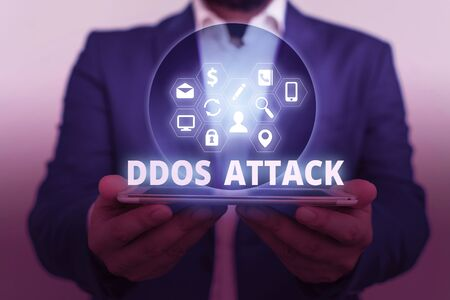 Text sign showing Ddos Attack. Business photo showcasing perpetrator seeks to make network resource unavailable Banco de Imagens