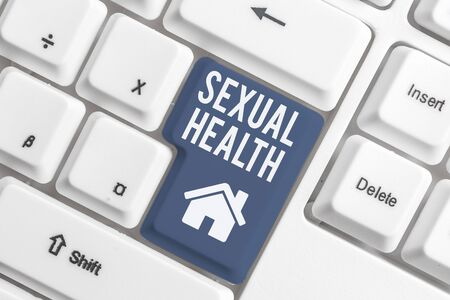 Conceptual hand writing showing Sexual Health. Concept meaning Healthier body Satisfying Sexual life Positive relationships White pc keyboard with note paper above the white background